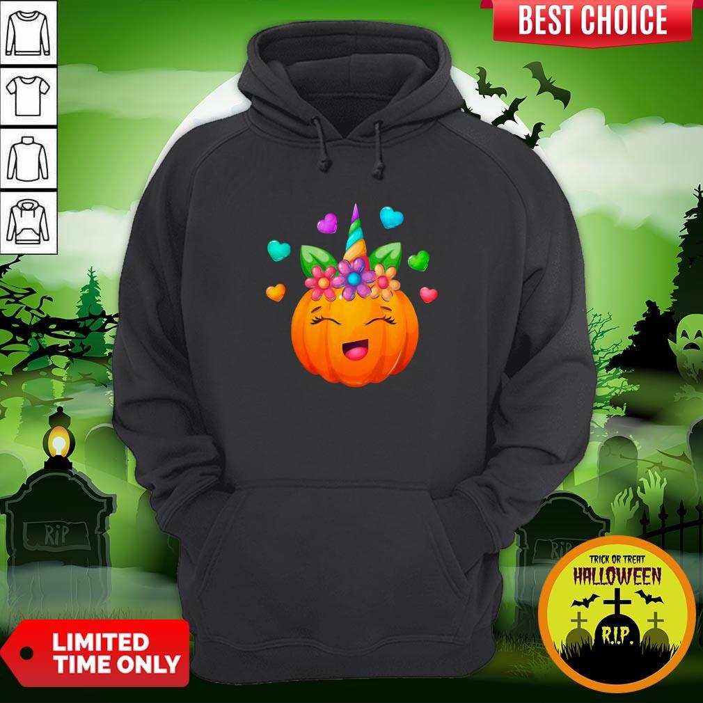 Cute Unicorn Pumpkin For Halloween Girls Hoodie