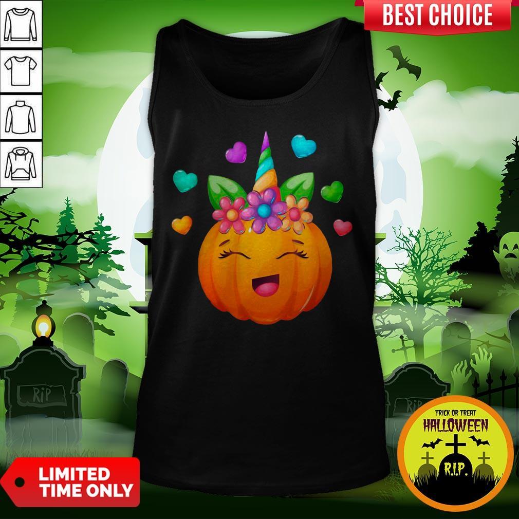 Cute Unicorn Pumpkin For Halloween Girls Tank Top