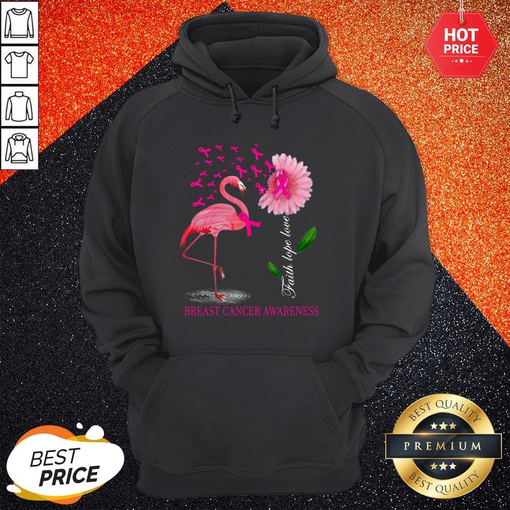 Faith Hope Love Pink Flamingo Ribbon Breast Cancer Awareness 2020 Hoodie