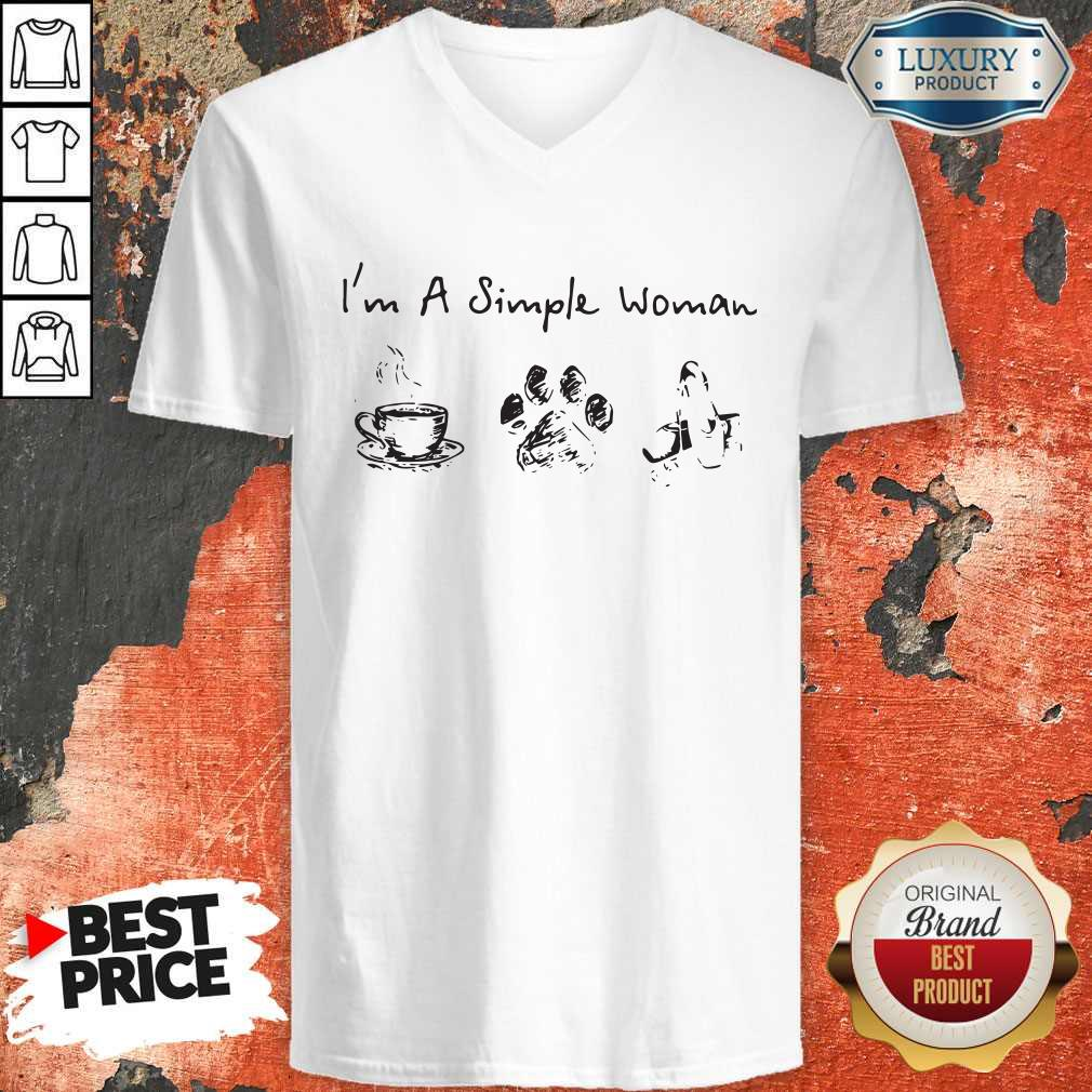 Funny I'm A Simple Woman Coffee Dog Paw Ballet V-neck