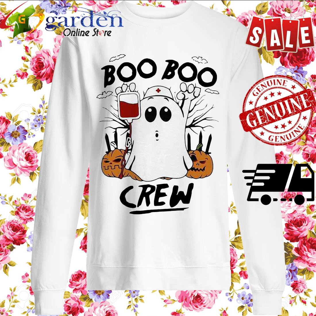 Ghost Pumpkins Nurse Boo Boo Crew Halloween sweater