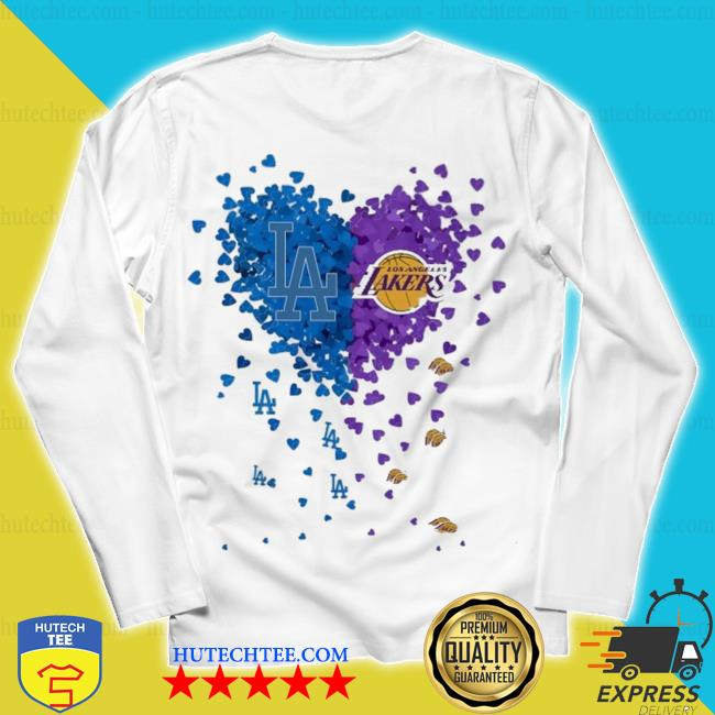 Heart Los Angeles Dodgers and Los Angeles Lakers s unisex longsleeve