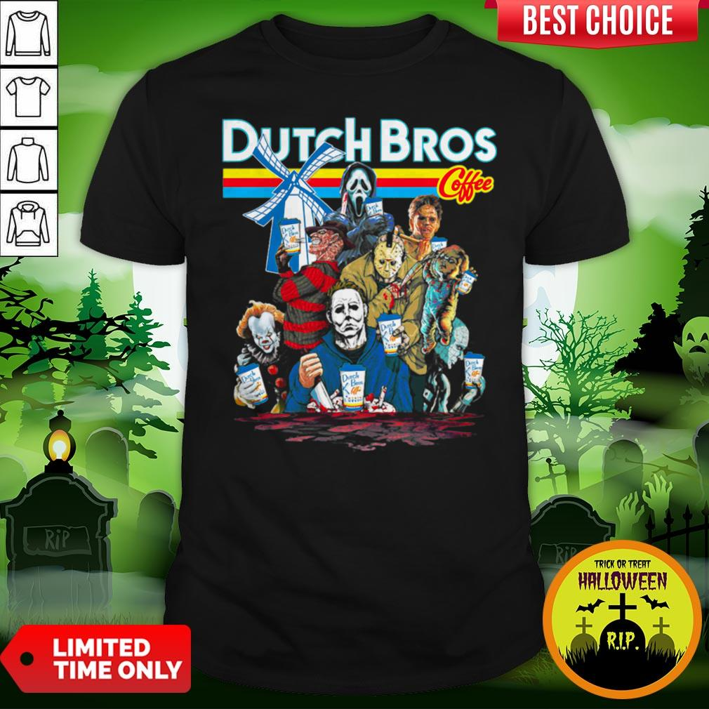Horror Movie Characters Dutch Bros Coffee Halloween Shirt