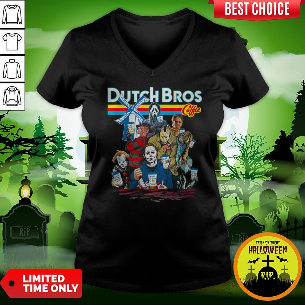 Horror Movie Characters Dutch Bros Coffee Halloween V-neck
