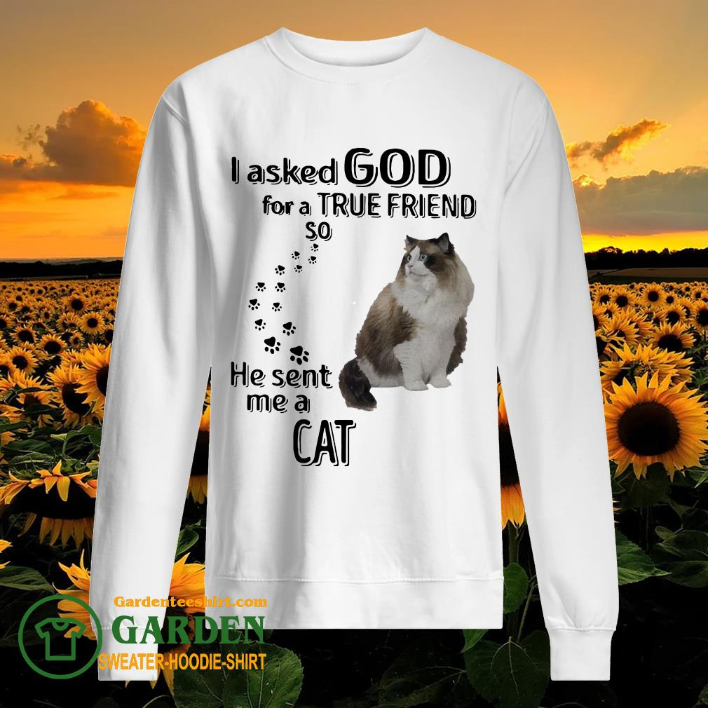 I asked God for a true friend so he sent me a Cat sweater