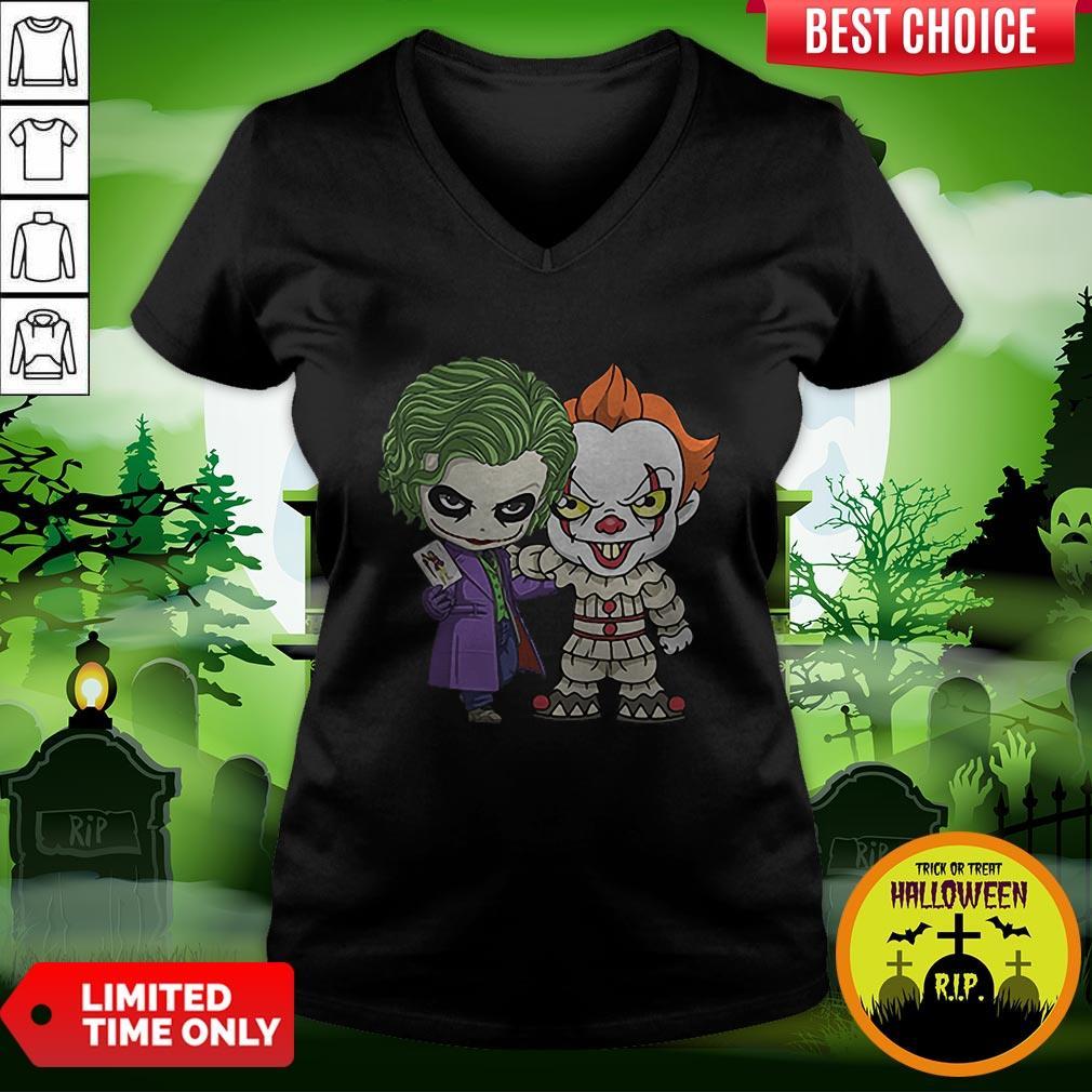 It Joker Pennywise Stand Together Halloween Horror V-neck