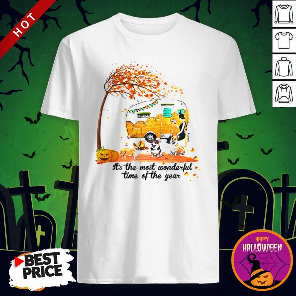 It's The Most Wonderful Time Of The Year Corgi Pumpkin Camping Halloween Shirt