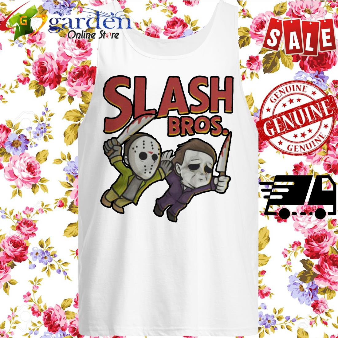 Jason Voorhees and Michael Myers Slash Bros tank top
