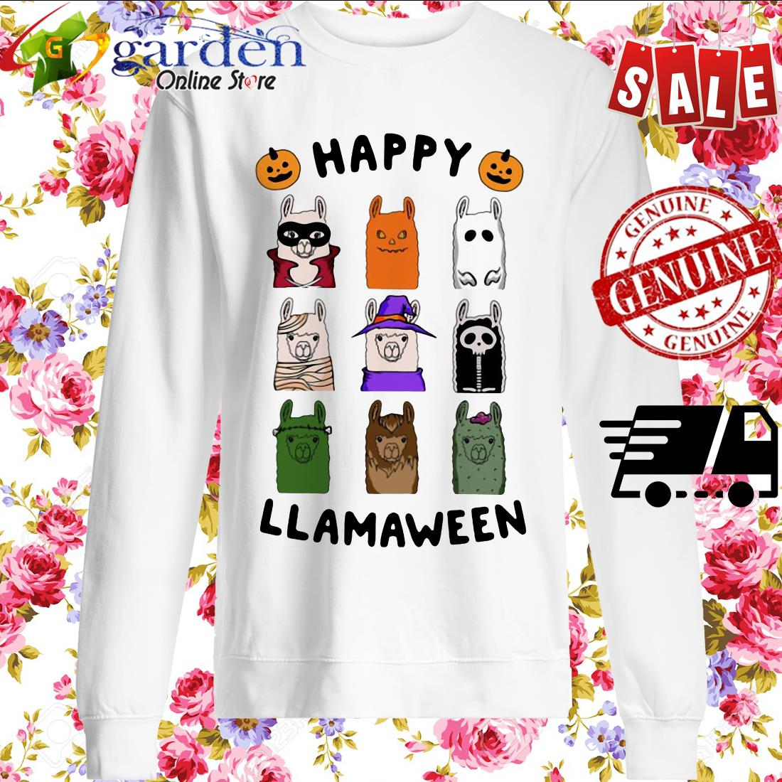 Llama Happy Llamaween Halloween sweater