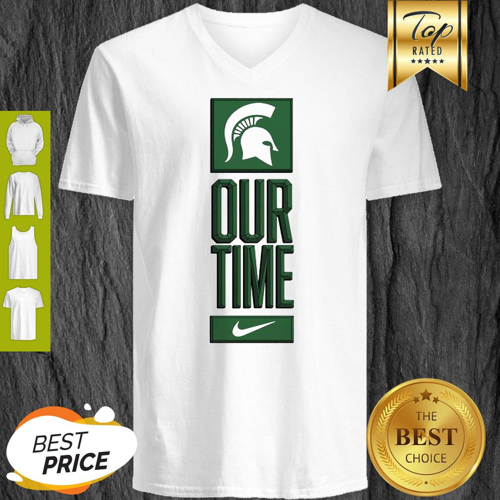 Michigan State Spartans Logo Basketball Our Time 2020 V-neck