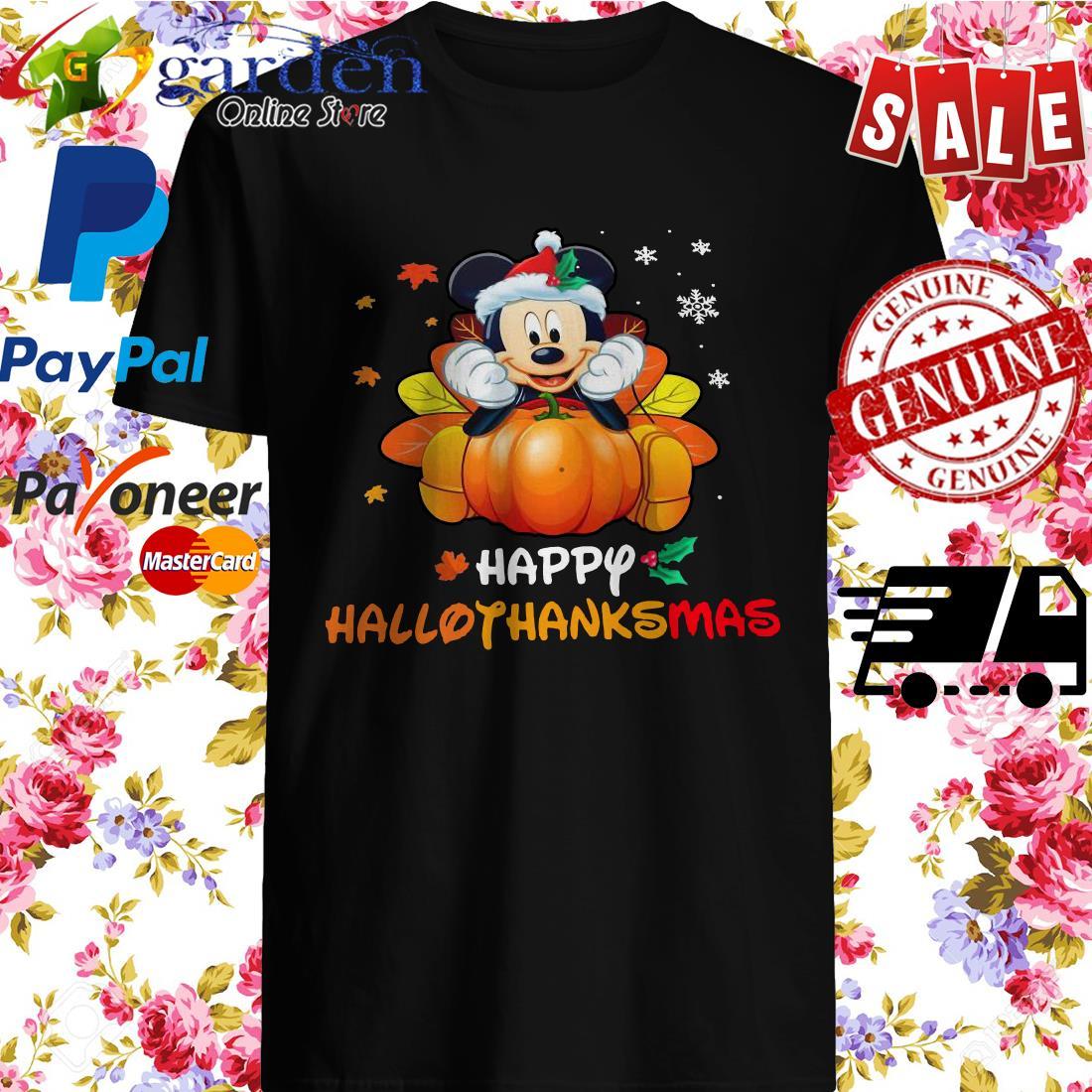 Mickey mouse happy Hallothanksmas shirt