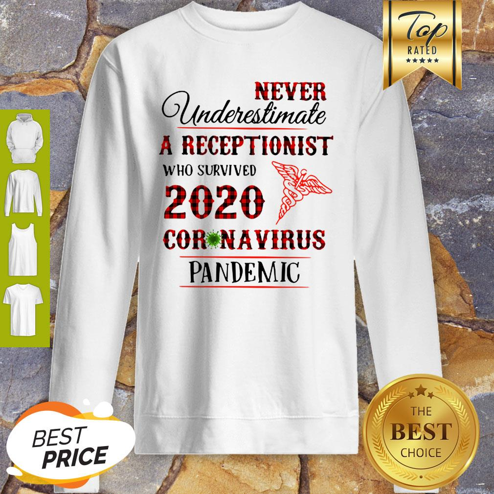 Never Underestimate A Receptionist 2020 Coronavirus Pandemic Medical Sweatshirt