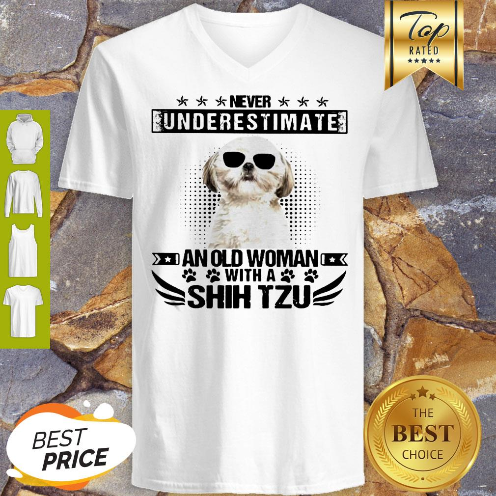 Never Underestimate An Old Woman With A Shih Tzu V-neck