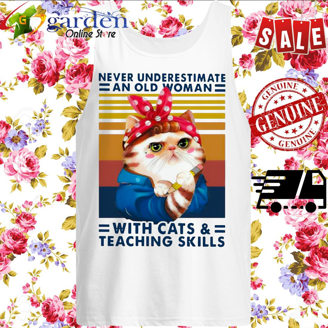 Never Underestimate An Old Woman With Cats And Teaching Skills Vintage sweater