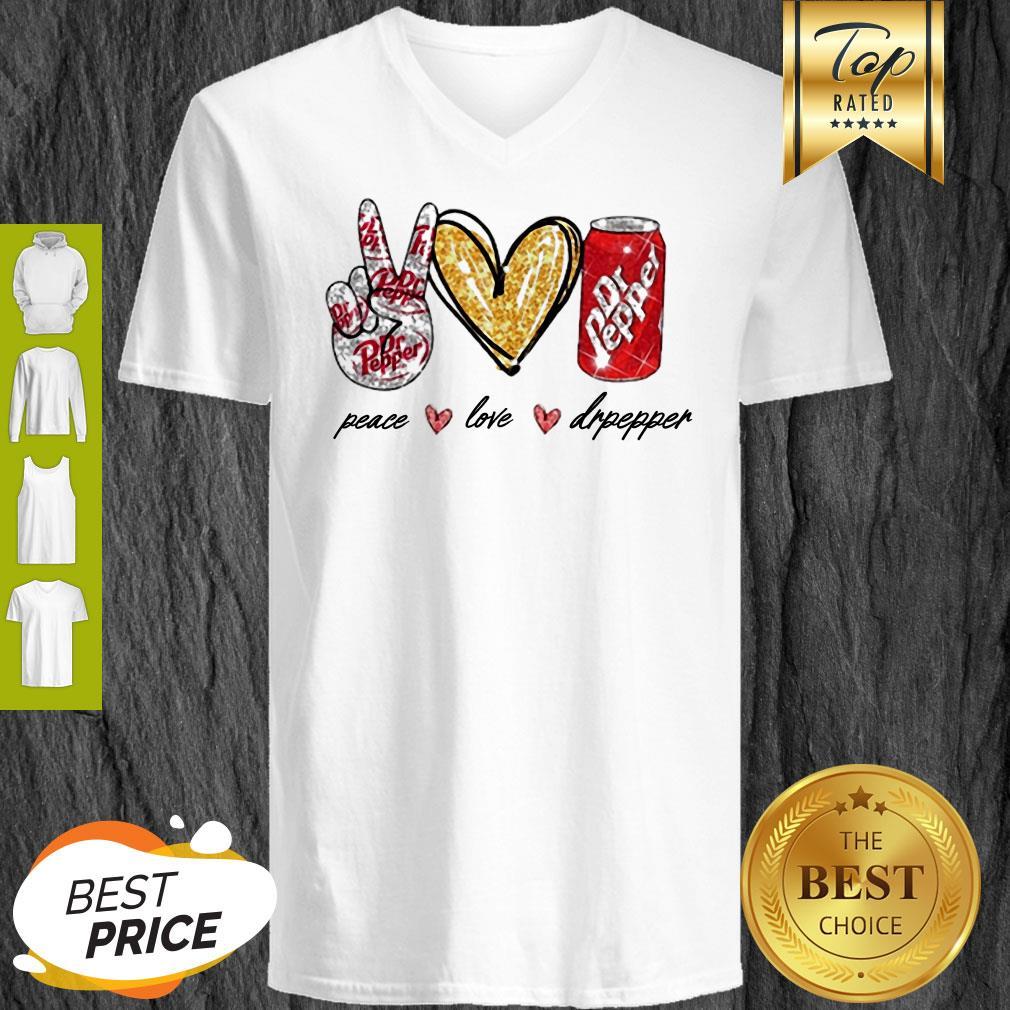 Nice Glitter Peace Love Dr Pepper V-neck