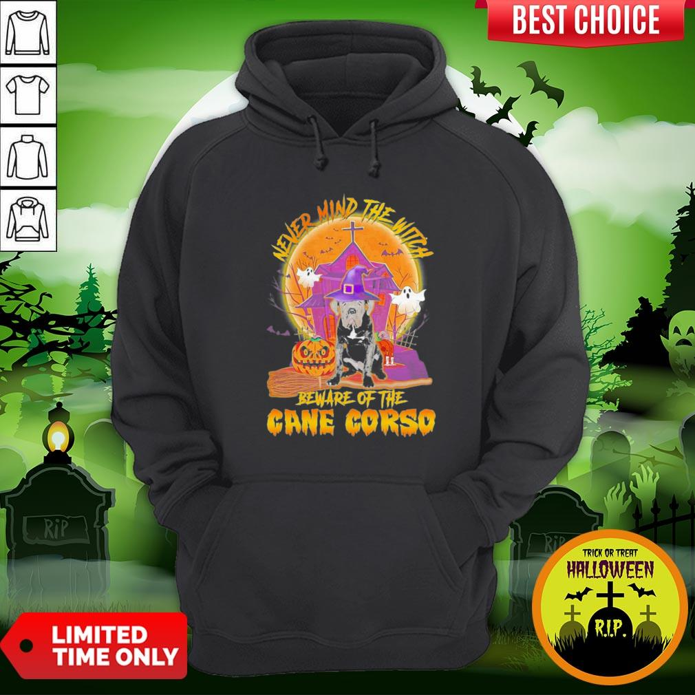 Nice Never Mind The Witch Beware Of The Cane Corso Halloween Moon Hoodie