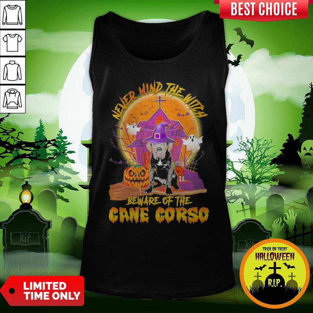 Nice Never Mind The Witch Beware Of The Cane Corso Halloween Moon Tank Top