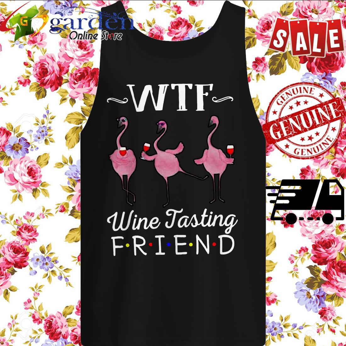 WTF wine tasting friends Flamingo tank top