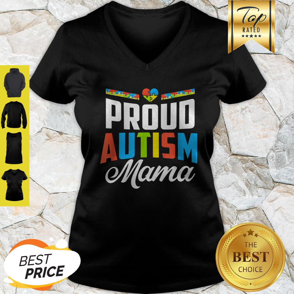 Official Proud Autism Mama Awareness Support V-neck