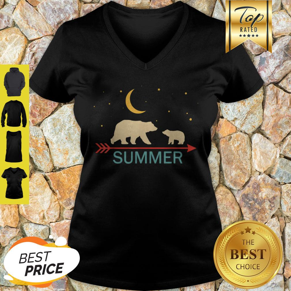 Official Summer Name Gift Personalized Mama Bear With 1 Cub V-neck