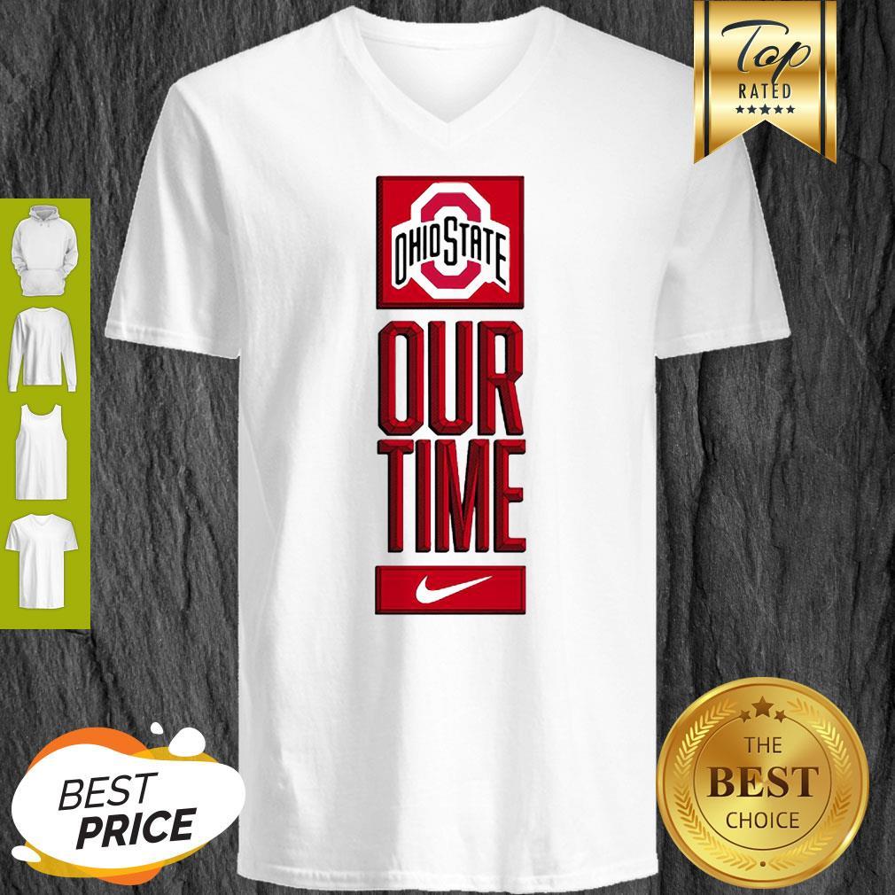 Ohio State Buckeyes Logo Basketball Our Time 2020 V-neck