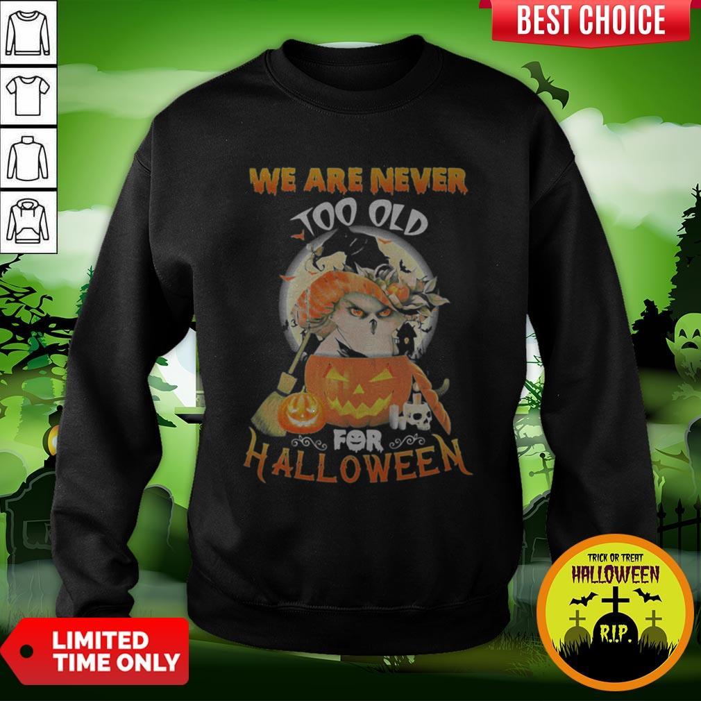 Owl We Are Never Too Old For Halloween Sweatshirt