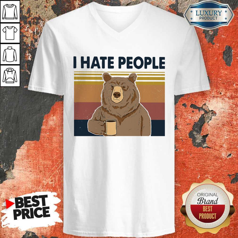 Perfect I Hate People Bear Vintage V-neck