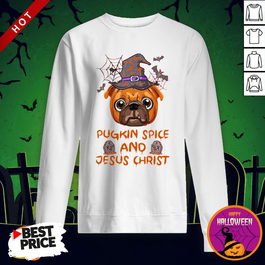 Pugkin Pice And Jesus Christ Halloween Sweatshirt