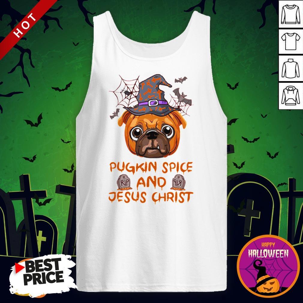 Pugkin Pice And Jesus Christ Halloween Tank Top