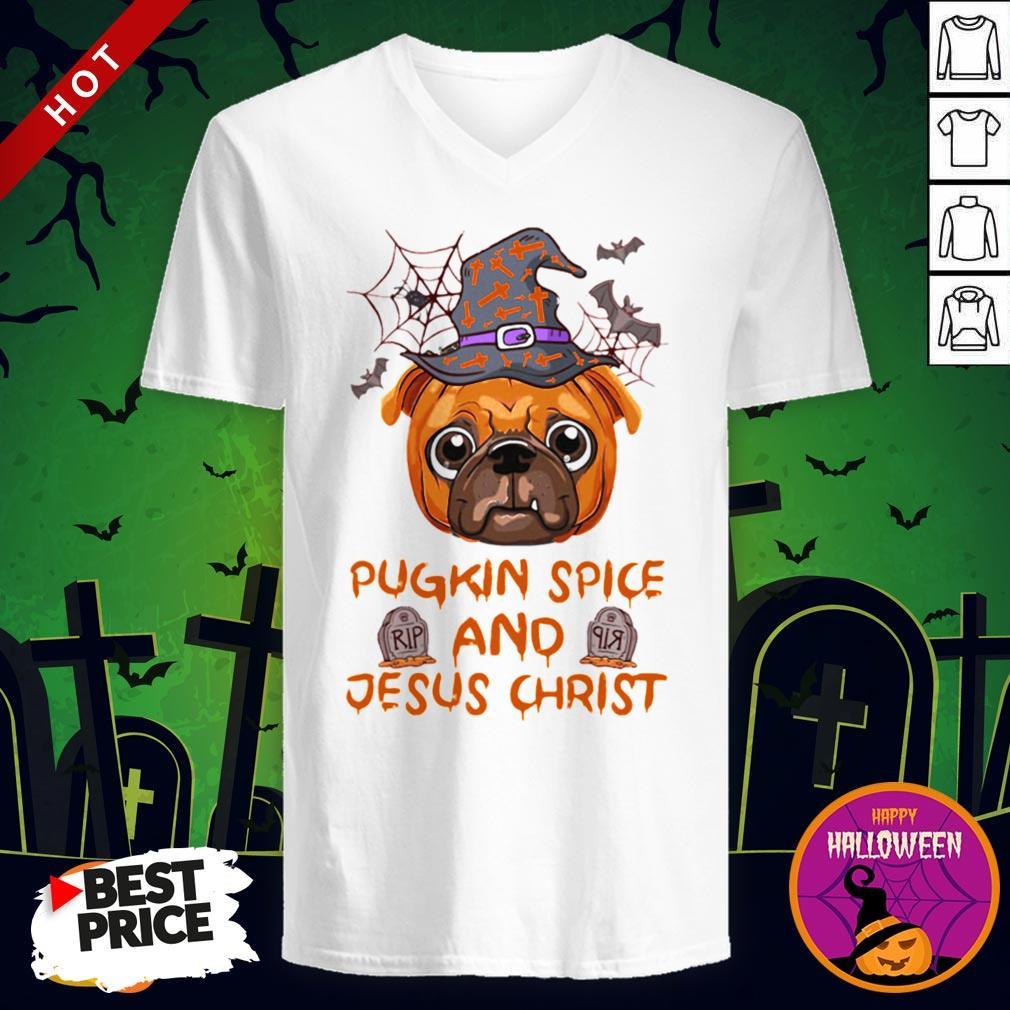 Pugkin Pice And Jesus Christ Halloween V-neck