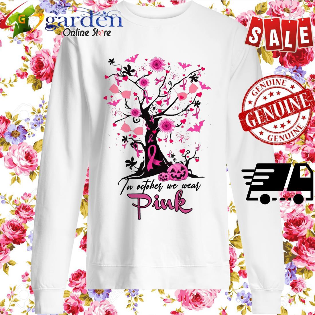 Pumpkin Breast Cancer In October we wear pink Halloween sweater