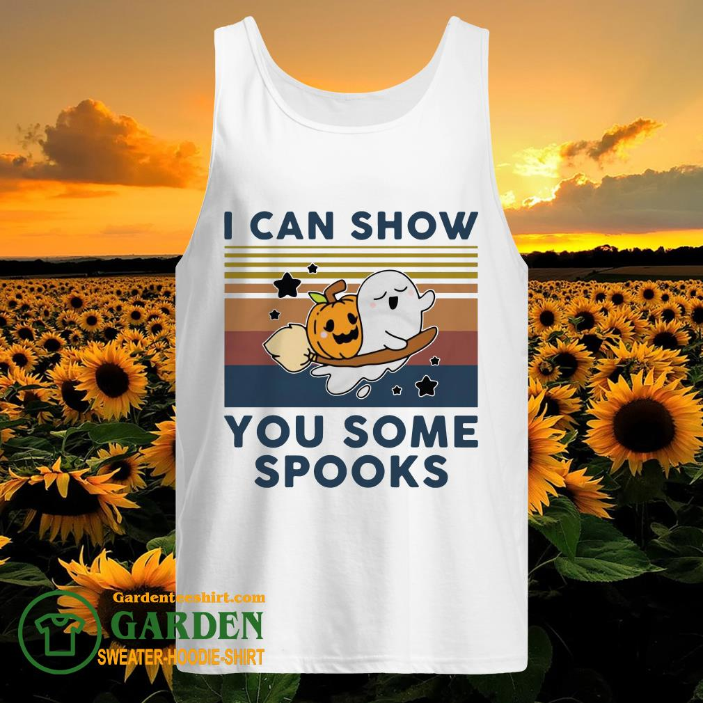 Pumpkin ghost I can show you some spooks vintage tank top