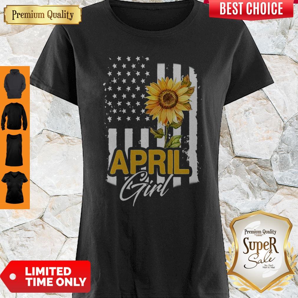 Premium American Flag Sunflowers April Girl Shirt