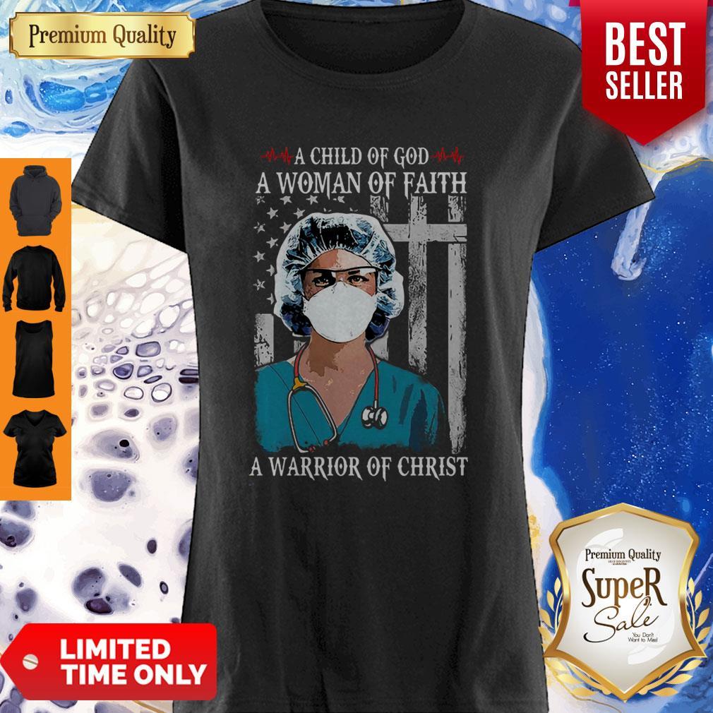 Nurse American Flag A Child Of God A Woman Of Faith Coronavirus Shirt