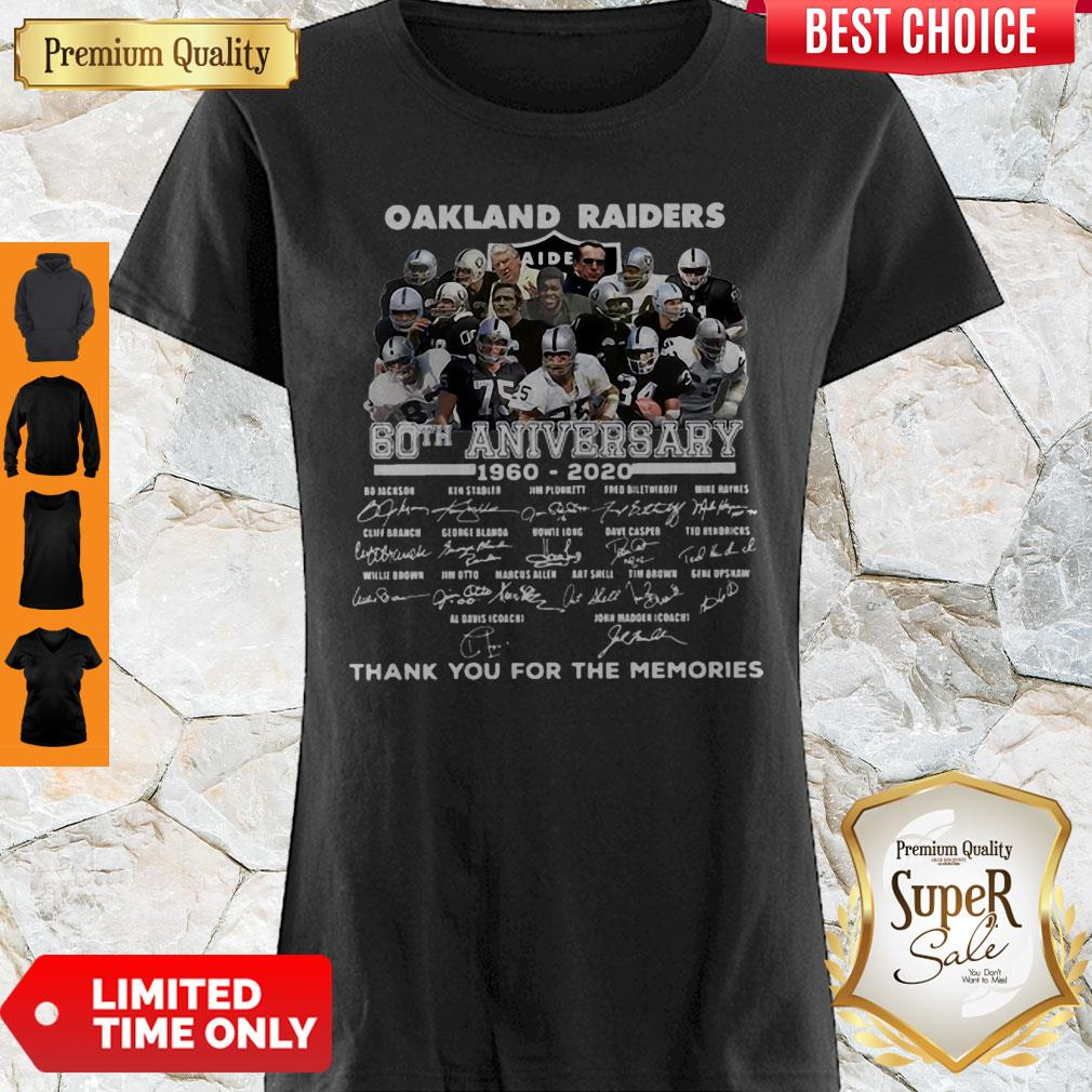 Oakland Raiders 60th Anniversary Thank You For The Memories Signatures Shirt