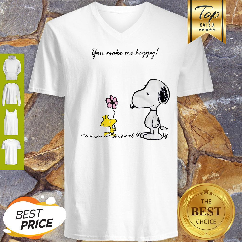 Snoopy And Woodstock You Make Me Happy V-neck