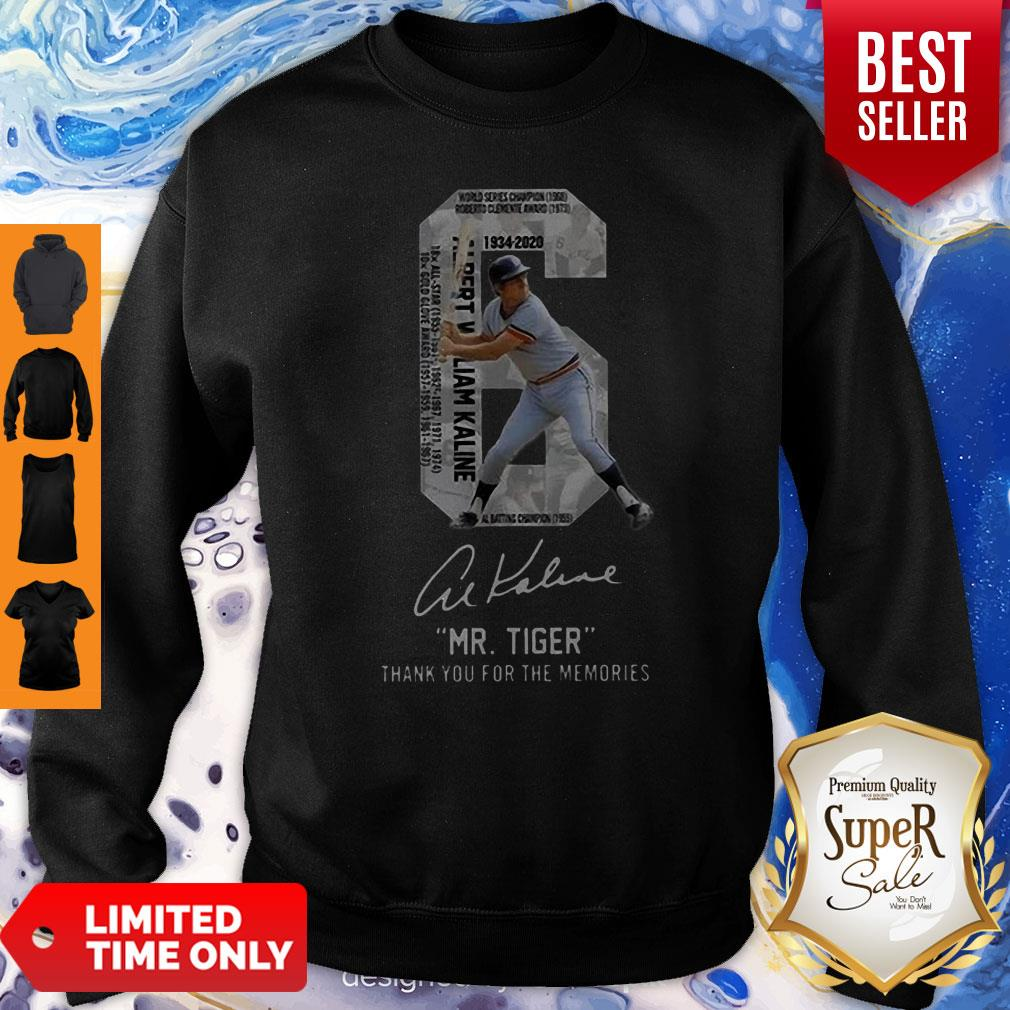 6 Al Kaline 1934-2020 Signature Mr. Tiger Detroit Tigers Sweatshirt
