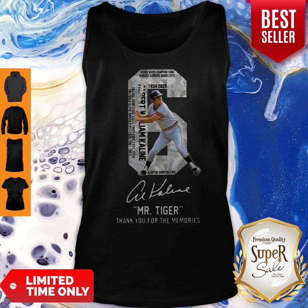 6 Al Kaline 1934-2020 Signature Mr. Tiger Detroit Tigers Tank Top