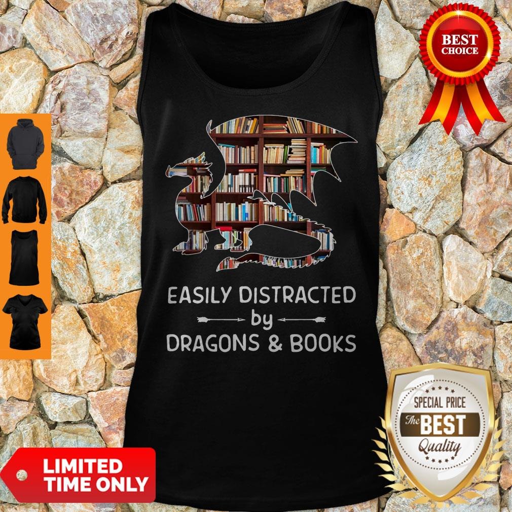 Perfect Dragon And Books Easily Distracted Tank Top