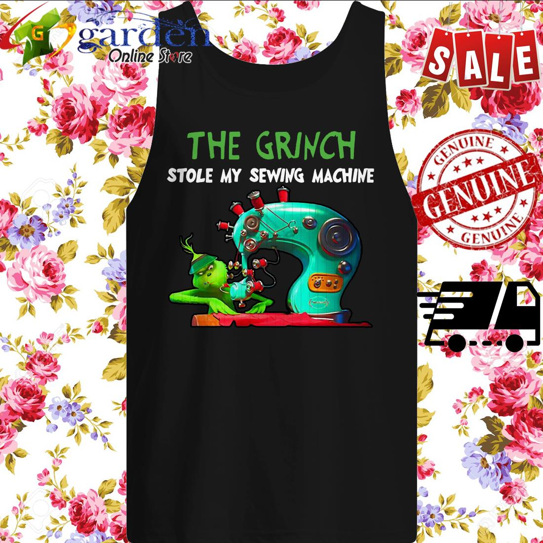 The Grinch Stole my sewing machine Christmas tank top