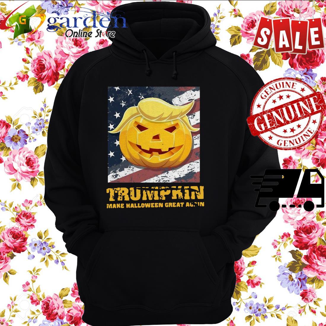 Trumpkin Make Halloween Great Again American Flag hoodie