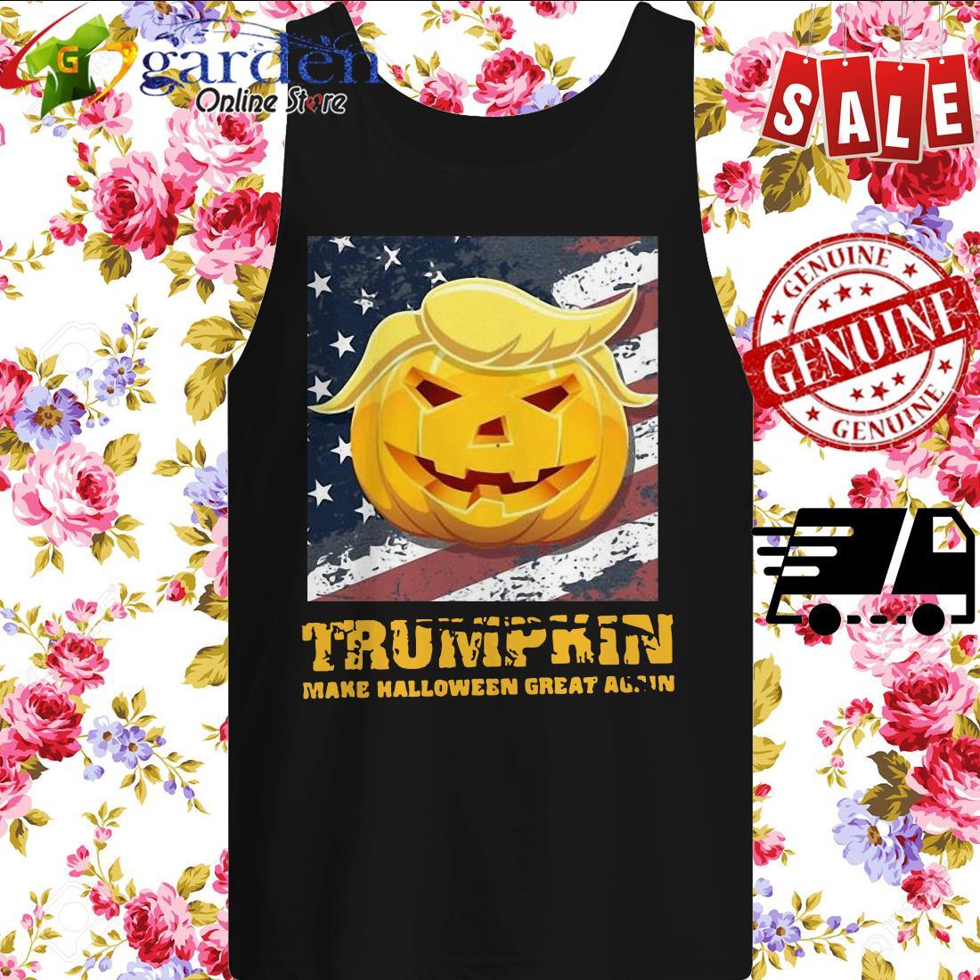 Trumpkin Make Halloween Great Again American Flag tank top