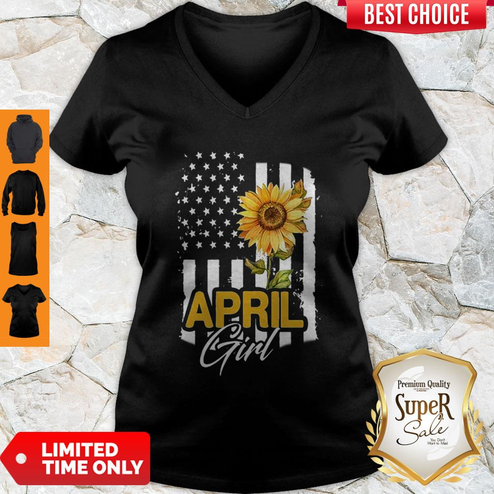 Premium American Flag Sunflowers April Girl V-neck