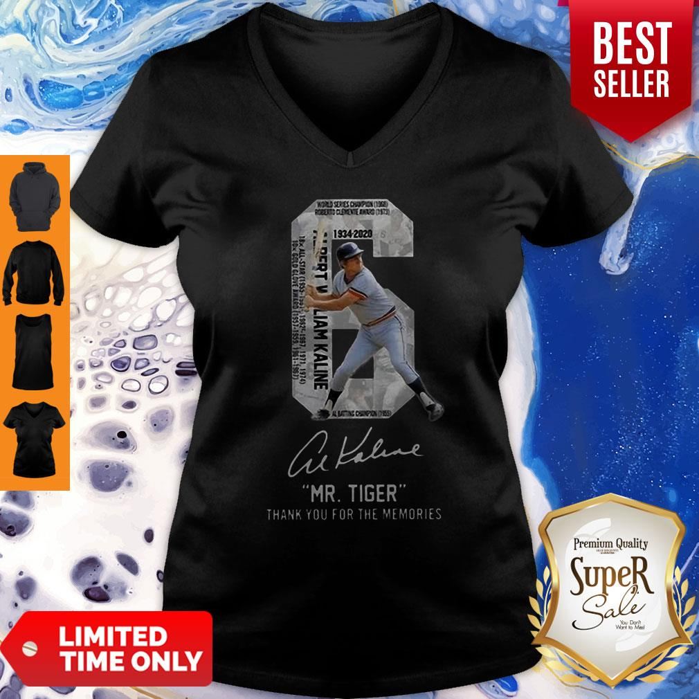 6 Al Kaline 1934-2020 Signature Mr. Tiger Detroit Tigers V-neck