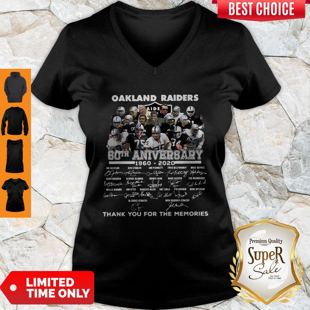 Oakland Raiders 60th Anniversary Thank You For The Memories Signatures V-neck