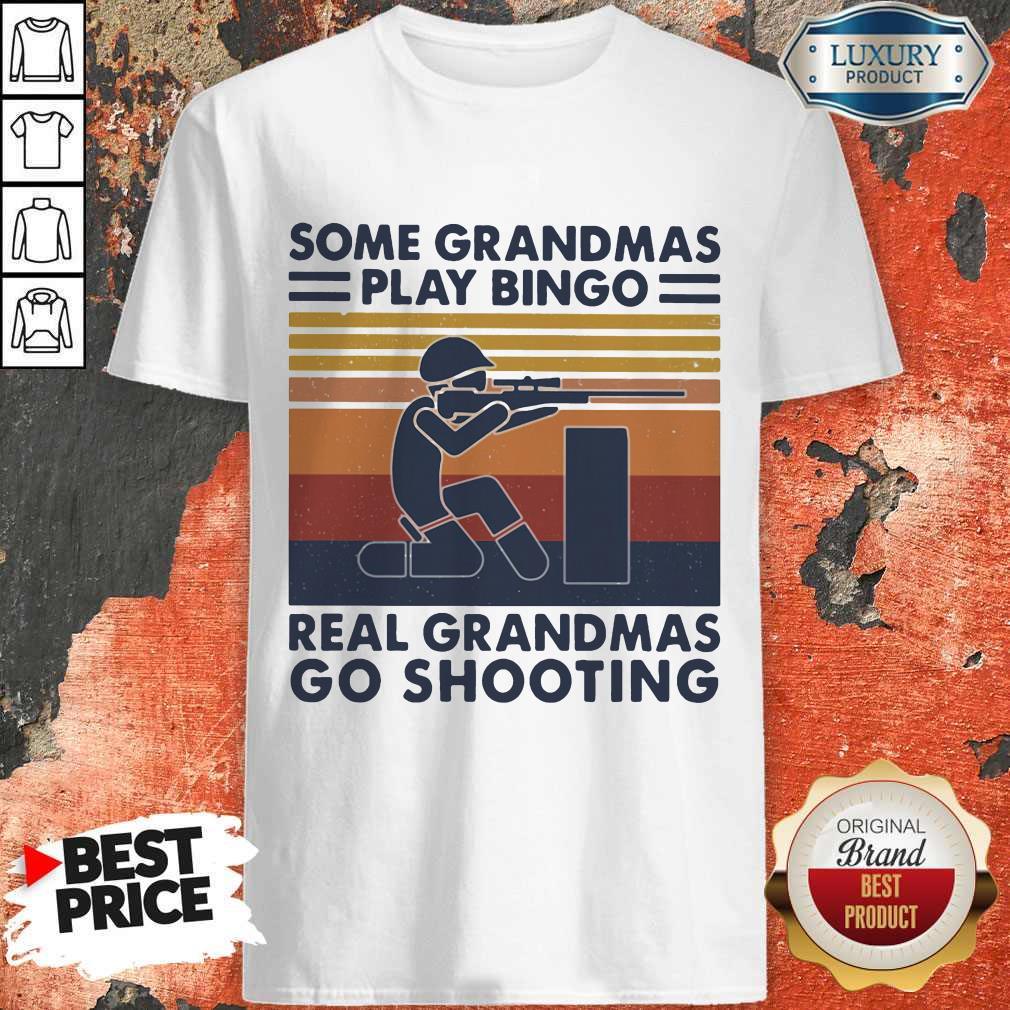 Vip Some Grandmas Play Bingo Real Grandmas Go Shooting Vintage Retro Shirt