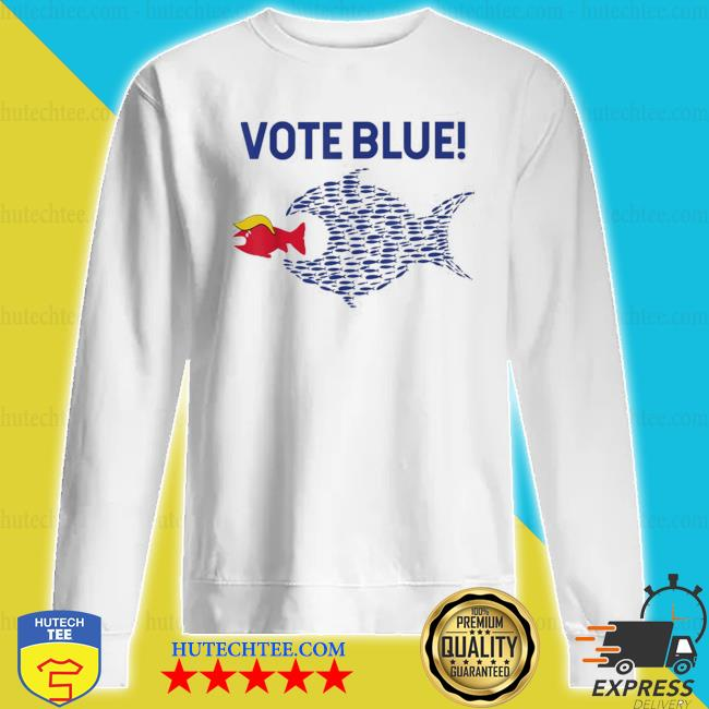 Vote blue fish eating red fish trump funny political meme s sweatshirt