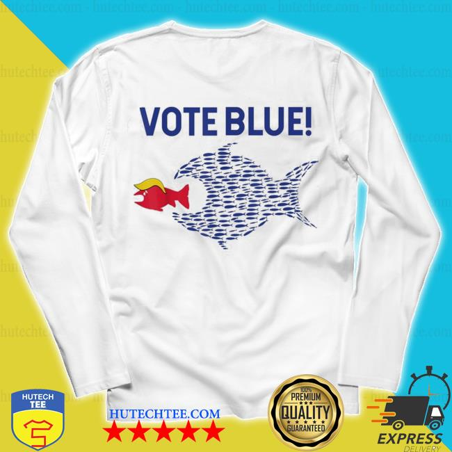 Vote blue fish eating red fish trump funny political meme s unisex longsleeve