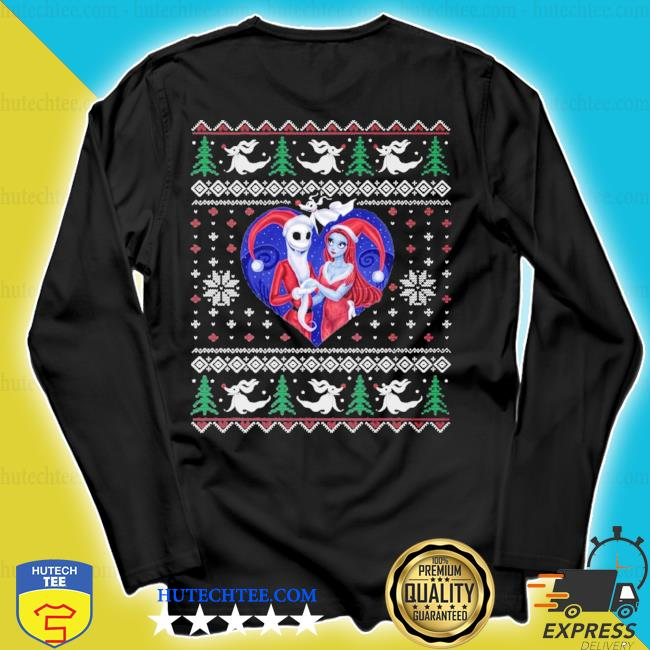 jack and sally in a heart ugly christmas sweater longsleeve