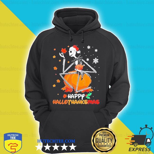 Jack skellington with santa hat happy hallothanksmas shirt